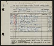 Entry card for McClean, Clara for the 1949 May Show.