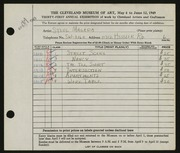 Entry card for Magada, Stephen for the 1949 May Show.
