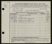 Entry card for Mandt, Robert D. for the 1949 May Show.