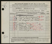 Entry card for Manning, Wray for the 1949 May Show.