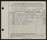 Entry card for Manzler, Lorna for the 1949 May Show.