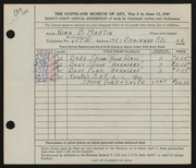 Entry card for Martin, Nina B. for the 1949 May Show.