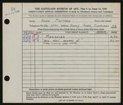 Entry card for Matthew, Helen for the 1949 May Show.