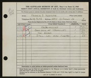Entry card for Meyers, Francis J. for the 1949 May Show.