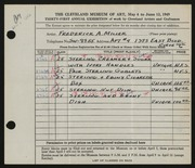 Entry card for Miller, Frederick Anson for the 1949 May Show.