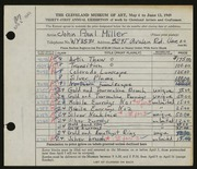 Entry card for Miller, John Paul for the 1949 May Show.
