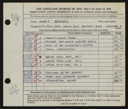 Entry card for Moore, Janet Gaylord for the 1949 May Show.