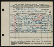 Entry card for Mosgo, Charles Francis for the 1949 May Show.