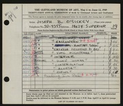 Entry card for O'Sickey, Joseph B. for the 1949 May Show.