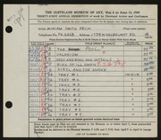 Entry card for Peck, Miriam Smith for the 1949 May Show.