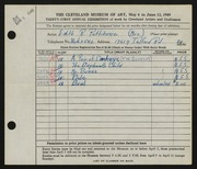 Entry card for Pettibone, Edith R. for the 1949 May Show.