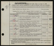 Entry card for Potter and Mellen , and Chidlaw, H. Kenneth; Weiser, Raymond T.; Miller, Frederick Anson; Corea, Sam for the 1949 May Show.