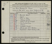 Entry card for Prior, Marna A. for the 1949 May Show.