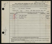 Entry card for Prochaska, Richard C. for the 1949 May Show.
