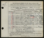 Entry card for Raseman, Elizabeth B. for the 1949 May Show.