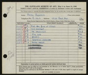 Entry card for Roberts, Peter for the 1949 May Show.
