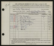 Entry card for Rosenberg, Yetta for the 1949 May Show.