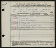 Entry card for Rossbach, Doris for the 1949 May Show.
