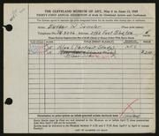 Entry card for Samolar, Esther R. for the 1949 May Show.
