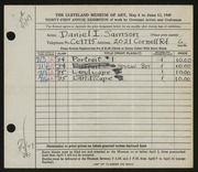Entry card for Samson, Daniel I. for the 1949 May Show.