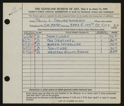 Entry card for Saubermann, Paul L. for the 1949 May Show.