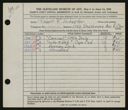 Entry card for Schaefer, Robert F. for the 1949 May Show.