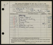 Entry card for Scheele, William E. for the 1949 May Show.