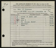 Entry card for Schworm, Neil D. for the 1949 May Show.