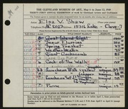 Entry card for Shaw, Elsa Vick for the 1949 May Show.