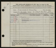 Entry card for Shawkey, Sigmund for the 1949 May Show.