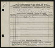 Entry card for Sherwin, Kathleen Burke for the 1949 May Show.