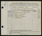 Entry card for Blakely, Carolyn for the 1949 May Show.