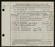 Entry card for Sinz, Walter A. for the 1949 May Show.
