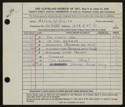 Entry card for Smith, Arthur W. for the 1949 May Show.