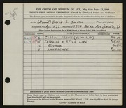 Entry card for Smith, David L. for the 1949 May Show.