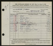 Entry card for Sommer, William for the 1949 May Show.