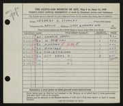 Entry card for Starkey, Herbert H. for the 1949 May Show.