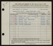 Entry card for Stumpf, Marie E. for the 1949 May Show.