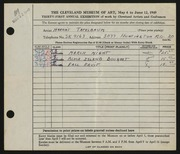 Entry card for Tatelbaum, Harriet for the 1949 May Show.
