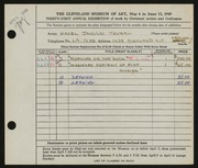 Entry card for Janicki, Hazel for the 1949 May Show.