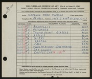 Entry card for Thomas, Florence Todd for the 1949 May Show.