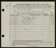 Entry card for Van Duzer, William A. for the 1949 May Show.