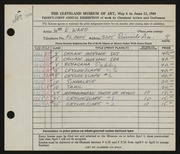 Entry card for Ward, William E. for the 1949 May Show.