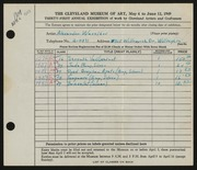 Entry card for Waselkov, Alexander Petrovitch for the 1949 May Show.