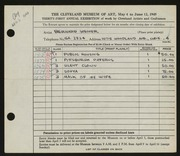 Entry card for Weiner, Bernard for the 1949 May Show.