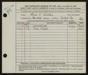Entry card for Widen, Ross E. for the 1949 May Show.