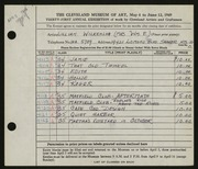 Entry card for Wilkenloh, Lillian for the 1949 May Show.