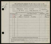 Entry card for Wilson, Marjorie Alice for the 1949 May Show.