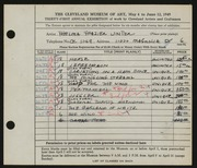 Entry card for Winter, Thelma Frazier for the 1949 May Show.