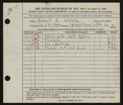 Entry card for Woide, Robert E. for the 1949 May Show.